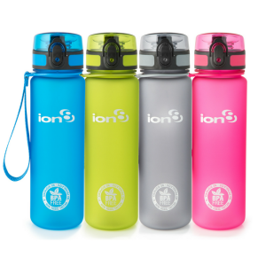 Ion8 Slim BPA Free Water Bottle - 500ml - Solid Carbon
